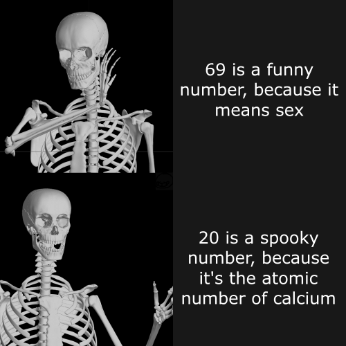 calcium: 69 is a funny  number, because it  means sex  20 is a spooky  number, because  it's the atomic  number of calcium