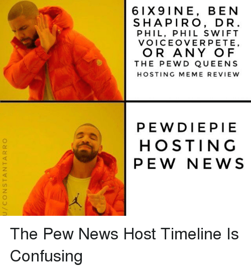 Meme, News, and Dr Phil: 6IX9INE, BEN  SHAPIRO, DR  PHIL, PHIL SWIFT  VOICEOVERPETE,  OR ANY OF  THE PEWD QUEENS  HOSTING MEME REVIEW  PEWDIEPIE  HOSTING  PEW NEWS