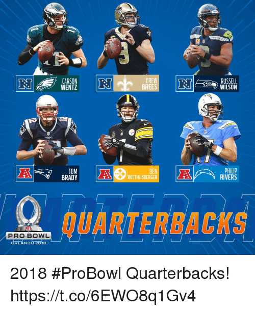 Ben Roethlisberger, Memes, and Nfl: 7 CARSON  WENTZ  DREW  BREES  RUSSELL  WILSON  PAIRIOS  TOM  BEN  ROETHLISBERGER  RIVERS  QUARTERBACKS  NFL  PRO BOWL  ORLANDo 2018 2018 #ProBowl Quarterbacks! https://t.co/6EWO8q1Gv4
