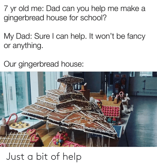 Or Anything: 7  old me: Dad can you help me make a  yr  gingerbread house for school?  My Dad: Sure I can help. It won't be fancy  or anything.  Our gingerbread house: Just a bit of help