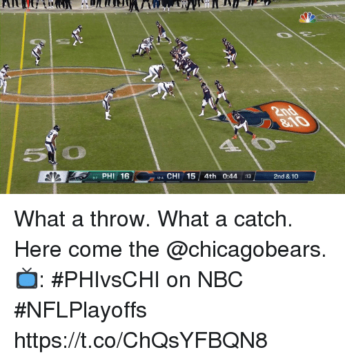 chicagobears: 7 PHI 16  12-4 CHI15 4th 0:44 :13  2nd & 10  9-7 What a throw. What a catch.  Here come the @chicagobears.  📺: #PHIvsCHI on NBC #NFLPlayoffs https://t.co/ChQsYFBQN8