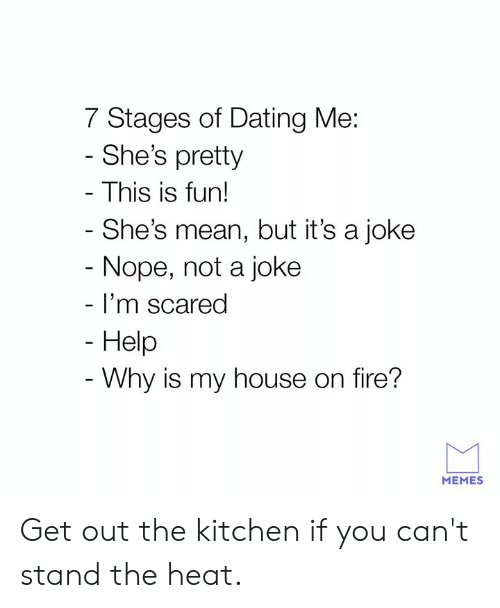 Dank, Dating, and Fire: 7 Stages of Dating Me:  She's pretty  This is fun!  She's mean, but it's a joke  Nope, not a joke  I'm scared  Help  Why is my house on fire?  MEMES Get out the kitchen if you can't stand the heat.