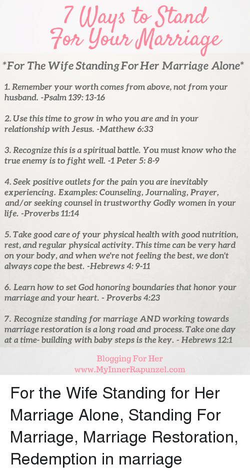 7 Ways to Stand Fot Your Marriage *For the Wife Standing for