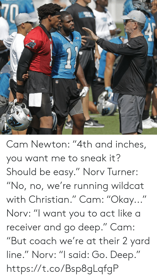 "Turner: 70  SE Cam Newton: ""4th and inches, you want me to sneak it? Should be easy.""  Norv Turner: ""No, no, we're running wildcat with Christian.""   Cam: ""Okay...""  Norv: ""I want you to act like a receiver and go deep.""   Cam: ""But coach we're at their 2 yard line.""   Norv: ""I said: Go. Deep."" https://t.co/Bsp8gLqfgP"
