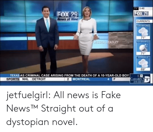 Detroit, Fake, and News: 71 548  FOX 29  News at Nine  FOX 29  CURRENTS  EANANTON  71  NW  JESSICA HEADLEY  71  KERRVILLE  69  TEXAS AS CRIMINAL CASE ARISING FROM THE DEATH OF A 10-YEAR-OLD BOY  CS  CARARIN  210-222-22  SPORTS NHL DETROIT  2 MONTREAL jetfuelgirl:  All news is Fake News™  Straight out of a dystopian novel.