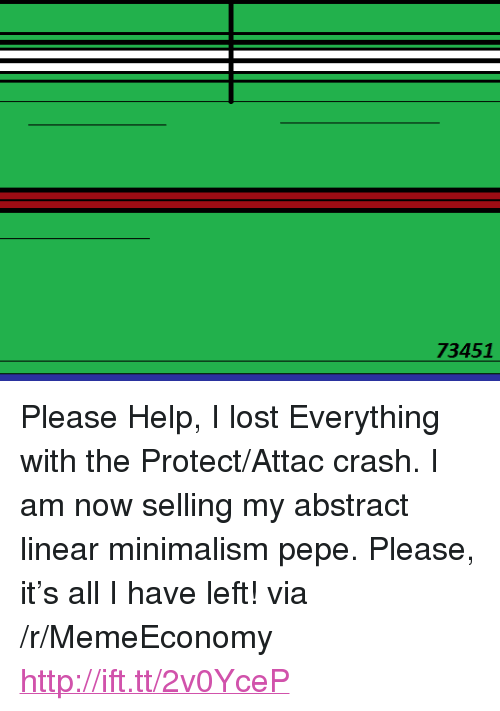 """minimalism: 73451 <p>Please Help, I lost Everything with the Protect/Attac crash. I am now selling my abstract linear minimalism pepe. Please, it&rsquo;s all I have left! via /r/MemeEconomy <a href=""""http://ift.tt/2v0YceP"""">http://ift.tt/2v0YceP</a></p>"""