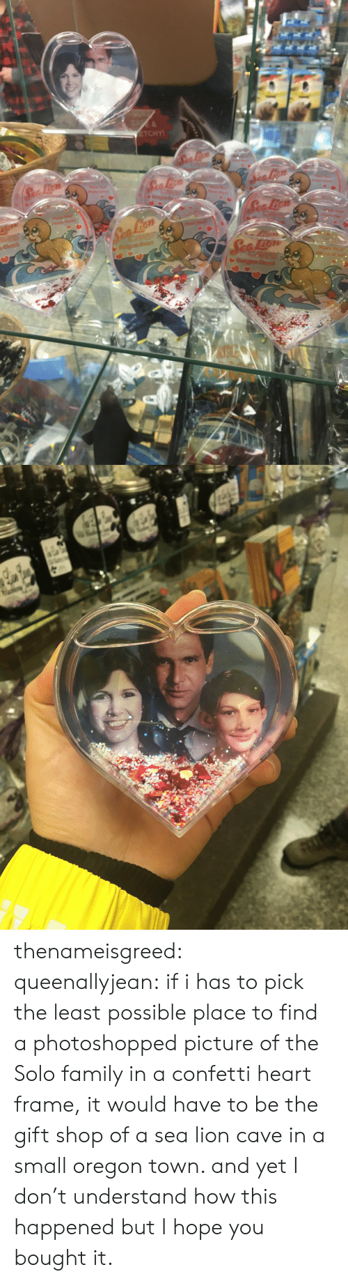 the-gift-shop: 7t  Her thenameisgreed:  queenallyjean: if i has to pick the least possible place to find a photoshopped picture of the Solo family in a confetti heart frame, it would have to be the gift shop of a sea lion cave in a small oregon town. and yet I don't understand how this happened but I hope you bought it.
