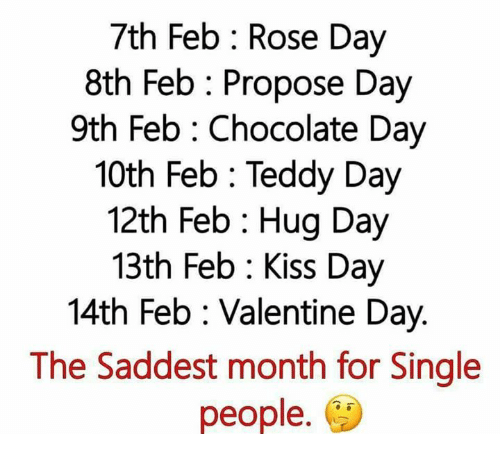 Chocolate Day: 7th Feb Rose Day  8th Feb Propose Day  9th Feb Chocolate Day  10th Feb Teddy Day  12th Feb Hug Day  13th Feb Kiss Day  14th Feb Valentine Day.  The Saddest month for Single  people.