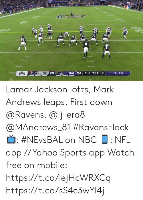Memes, Nfl, and Sports: 8  21  5-2 BAL 24 3rd 7:17  8-0 NE 20  3rd & 5  :10 Lamar Jackson lofts, Mark Andrews leaps.  First down @Ravens. @lj_era8 @MAndrews_81 #RavensFlock  📺: #NEvsBAL on NBC 📱: NFL app // Yahoo Sports app Watch free on mobile: https://t.co/iejHcWRXCq https://t.co/sS4c3wYl4j