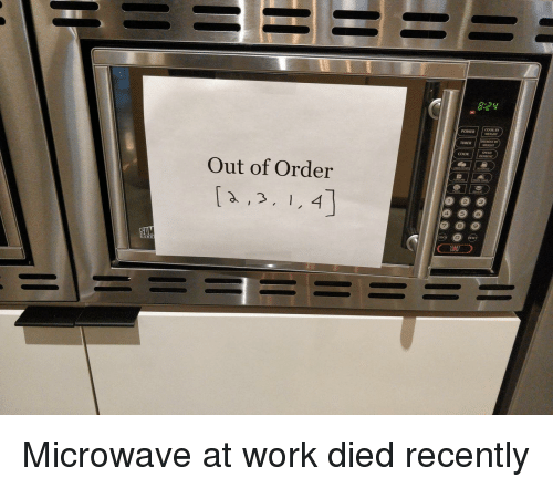 Work, Power, and Microwave: 8:24  COOK  POWER  TIMER  cook  Out of Order  2  3  4  9  SUM Microwave at work died recently