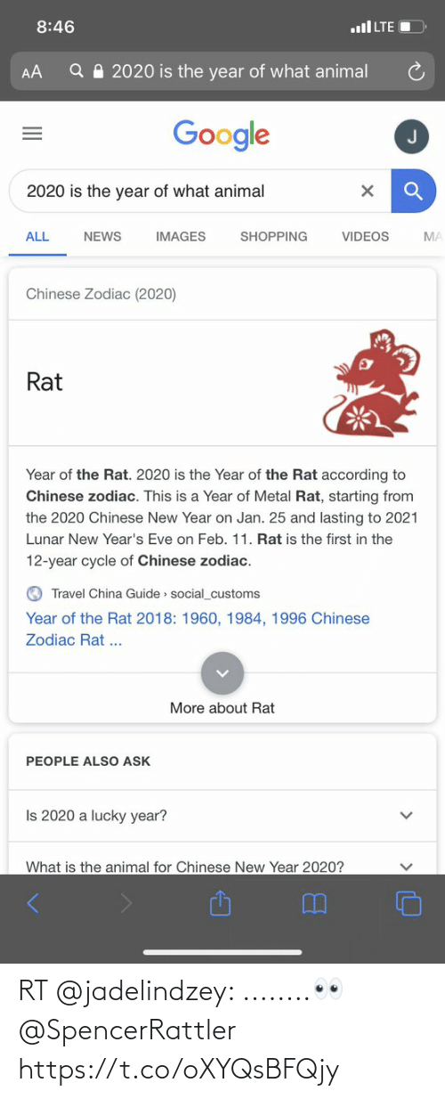 Animal Videos: 8:46  ull LTE  Q A 2020 is the year of what animal  AA  Google  2020 is the year of what animal  VIDEOS  ALL  NEWS  IMAGES  SHOPPING  MA  Chinese Zodiac (2020)  Rat  Year of the Rat. 2020 is the Year of the Rat according to  Chinese zodiac. This is a Year of Metal Rat, starting from  the 2020 Chinese New Year on Jan. 25 and lasting to 2021  Lunar New Year's Eve on Feb. 11. Rat is the first in the  12-year cycle of Chinese zodiac.  O Travel China Guide » social_customs  Year of the Rat 2018: 1960, 1984, 1996 Chinese  Zodiac Rat ...  More about Rat  PEOPLE ALSO ASK  Is 2020 a lucky year?  What is the animal for Chinese New Year 2020? RT @jadelindzey: ........👀 @SpencerRattler https://t.co/oXYQsBFQjy