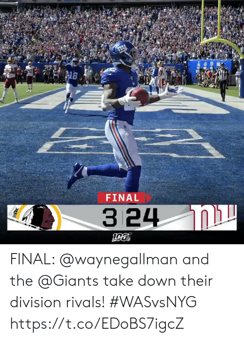 Memes, Giants, and Rivals: 8  FINAL  3 24 N FINAL: @waynegallman and the @Giants take down their division rivals!  #WASvsNYG https://t.co/EDoBS7igcZ