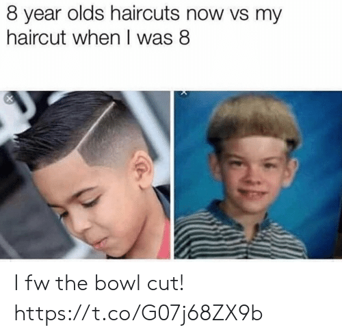 Haircut: 8 year olds haircuts now vs my  haircut when I was 8 I fw the bowl cut! https://t.co/G07j68ZX9b