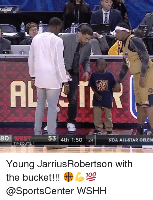 nba all stars: 80 WEST  TIMEOUTS: 1  IT TAKES  53 4th 1:50  24  NBA ALL-STAR CELEBR Young JarriusRobertson with the bucket!!! 🏀💪💯 @SportsCenter WSHH
