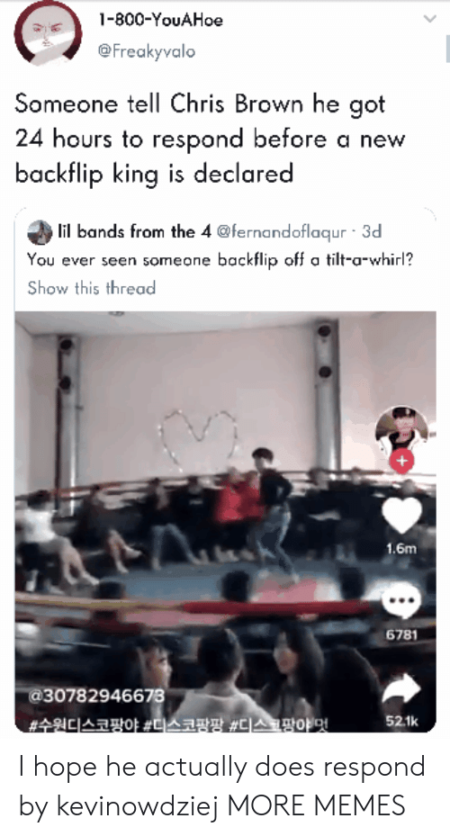Chris Brown, Dank, and Memes: -800-YouAHoe  @Freakyvalo  Someone tell Chris Brown he got  24 hours to respond before a new  backflip king is declared  lil bands from the 4 @fernandoflaqur 3d  You ever seen someone backflip off a tilt-a-whirl?  Show this thread  1.6m  6781  30782946673  52.1k I hope he actually does respond by kevinowdziej MORE MEMES