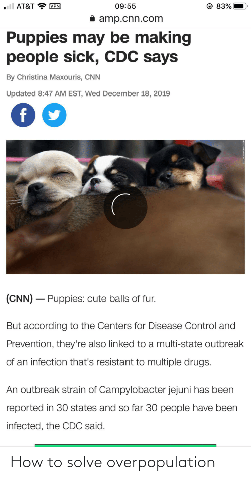 cnn.com, Cute, and Drugs: @ 83%  ll AT&T  09:55  (VPN  i amp.cnn.com  Puppies may be making  people sick, CDC says  By Christina Maxouris, CNN  Updated 8:47 AM EST, Wed De  mber 18, 2019  f  (CNN) – Puppies: cute balls of fur.  But according to the Centers for Disease Control and  Prevention, they're also linked to a multi-state outbreak  of an infection that's resistant to multiple drugs.  An outbreak strain of Campylobacter jejuni has been  reported in 30 states and so far 30 people have been  infected, the CDC said. How to solve overpopulation