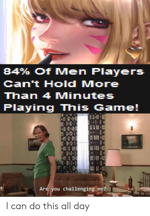4 minutes: 84% Of Men Players  Can't Hold More  Than 4 Minutes  Playing This Game!  21  H  Are you challenging me? I can do this all day