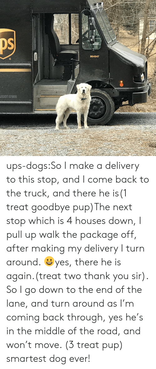 Dogs, Target, and Tumblr: 864947  USDOT 021800 ups-dogs:So I make a delivery to this stop, and I come back to the truck, and there he is(1 treat goodbye pup)The next stop which is 4 houses down, I pull up walk the package off, after making my delivery I turn around. 😀yes, there he is again.(treat two thank you sir). So I go down to the end of the lane, and turn around as I'm coming back through, yes he's in the middle of the road, and won't move. (3 treat pup) smartest dog ever!