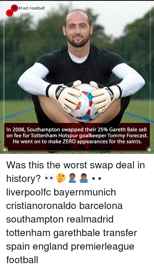 Forecast: 8Fact Football  In 2008, Southampton swapped their 25% Gareth Bale sell  on fee for Tottenham Hotspur goalkeeper Tommy Forecast.  He went on to make ZERO appearances for the saints. Was this the worst swap deal in history? 👀🤔🤦🏾♂️🤷🏾♂️ • • liverpoolfc bayernmunich cristianoronaldo barcelona southampton realmadrid tottenham garethbale transfer spain england premierleague football