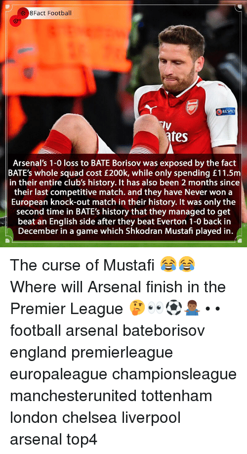 bates: 8Fact Football  RESPC  ly  fes  Arsenal's 1-0 loss to BATE Borisov was exposed by the fact  BATE's whole squad cost £200k, while only spending £11.5m  in their entire club's history. It has also been 2 months since  their last competitive match. and they have Never won a  European knock-out match in their history. It was only the  second time in BATE's history that they managed to get  beat an English side after they beat Everton 1-0 back in  December in a game which Shkodran Mustafi played in. The curse of Mustafi 😂😂 Where will Arsenal finish in the Premier League 🤔👀⚽️🤷🏾♂️ • • football arsenal bateborisov england premierleague europaleague championsleague manchesterunited tottenham london chelsea liverpool arsenal top4