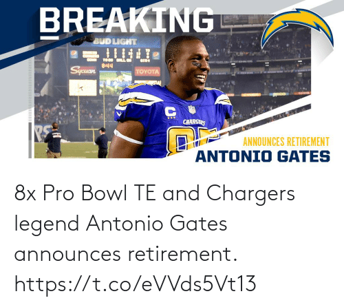 bowl: 8x Pro Bowl TE and Chargers legend Antonio Gates announces retirement. https://t.co/eVVds5Vt13