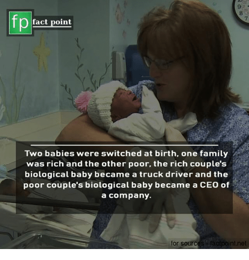 Family, Memes, and Baby: 9-  8  20  fp  7  fact point  Two babies were switched at birth, one family  was rich and the other poor, the rich couple's  biological baby became a truck driver and the  poor couple's biological baby became a CEO of  a company.  for sources facipoint.net