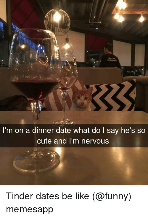 Be Like, Cute, and Funny: 9  I'm on a dinner date what do I say he's so  cute and I'm nervous Tinder dates be like (@funny) memesapp