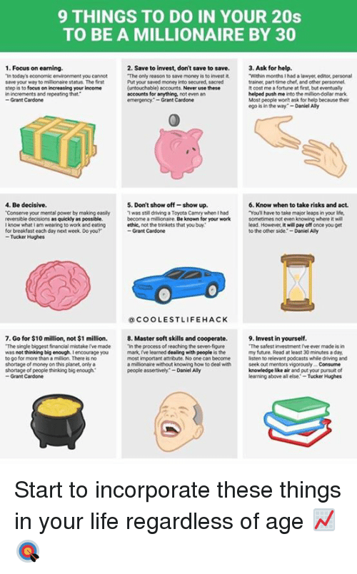 """Driving, Future, and Lawyer: 9 THINGS TO DO IN YOUR 20s  TO BE A MILLIONAIRE BY 30  1. Focus on earning.  2. Save to invest, don't save to save.  3. Ask for help.  """"The only reason to save money is to invest it  """"Within months I had a lawyer editor personal  """"In today's economic environment you cannot  save your way to millionair  e status. The first  Put your saved money into secured, sacred  trainer part-time chef, and other personnel.  focus on increasing your income  (untouchable) account  Never use these  It cost me afortune at first, but eventually  step is to  in increments and repeating that  accounts for anything.  not even an  helped push me  into the million-dollar mark.  Most people won't ask for help because their  Grant Cardone  emergency Grant Cardone  ego is in the way  Daniel Ally  4, Be decisive.  5. Don't show off-show up.  6. Know when to take risks and act.  """"Conserve your mental power by making easily Twas still driving a Toyota Camry when had  """"You have to take major leaps in your life,  reversible decisions as quickly as possible.  become a millionaire.  Be known for your work  sometimes noteven knowing where it wil  lead. However, it will pay off once you get  know whatlam wearing to work and eating  for breakfast each day next week Do you?  Grant Cardone  to the other side  -Daniel Ally  Tucker Hughes  COOLEST LIFE HACK  7. Go for $10 million, not $1 million. 8. Master soft skills and cooperate.  9. Invest in yourself.  """"The single biggest financial mistakerve made  """"in the process of reachingthe sevenfigure  """"The safest investment rve ever made is in  was not thinking big enough. Iencourage you  mark I've learned dealing with people  is the  my future. Read at least 30 minutes a day,  most important attribute. No one can become  listen to relevant podcasts whie driving and  millionaire without knowing how to deal with  seek out mentors vigorously Consume  people assertively -Daniel Ally  knowledge like air and put your pursuit of  to go fo"""