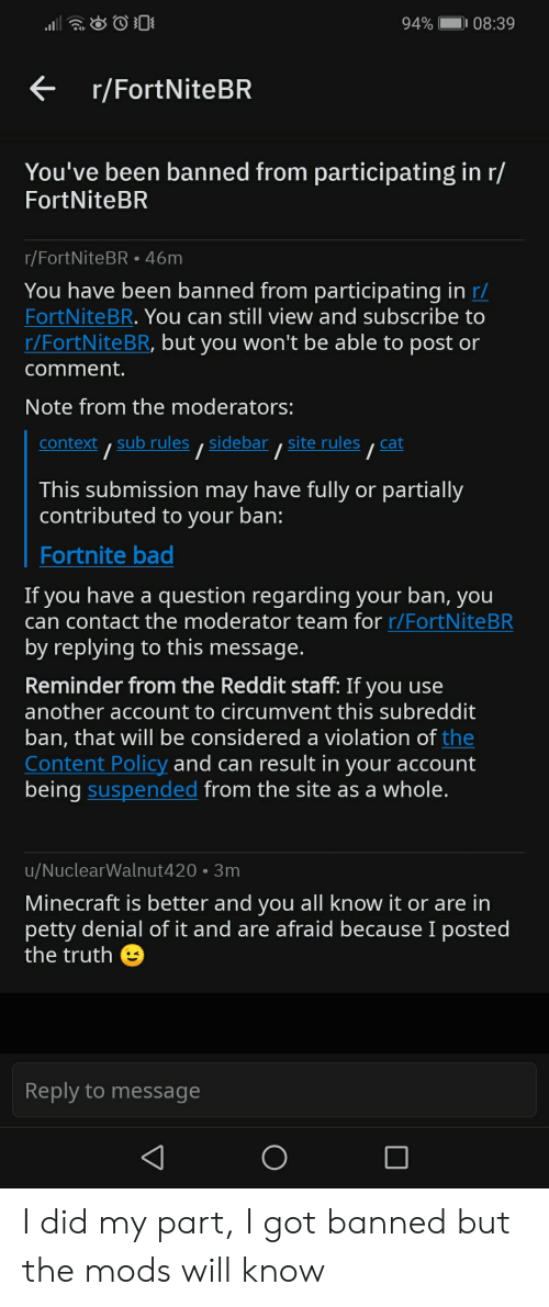 94 0839 You Ve Been Banned From Participating In R Fortnitebr Rfortnitebr46m You Have Been Banned From Participating In R Fortnitebr You Can Still View And Subscribe To Rfortnitebr But You Won T Be .fortnitebr #fortnitestreamer #season9 #fortnitegameplay #twitch #twitchfortnite #fortnitewins fortnitewin #fortnitely #fortnitebr #fortnitememe #fortniteseason9 #fortniteps4 #fortnitelovers. awwmemes com