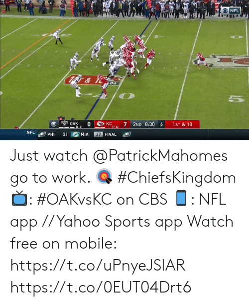 Memes, Nfl, and Sports: 96 E  90  NFL  20  & it  06  KC  OAK  0  (6-5)  7  2ND 8:30  1ST & 10  6  (7-4)  NFL  37 FINAL  31  PHI  MIA Just watch @PatrickMahomes go to work. 🎯 #ChiefsKingdom  📺: #OAKvsKC on CBS 📱: NFL app // Yahoo Sports app Watch free on mobile: https://t.co/uPnyeJSIAR https://t.co/0EUT04Drt6