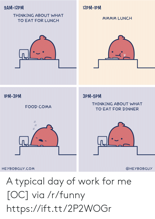 Food, Funny, and Work: 9AM-12PM  12PM-1PM  THINKING ABOUT WHAT  TO EAT FOR LUNCH  MMMM LUNCH  IPM-3PM  3PM-5PM  THINKING ABOUT WHAT  TO EAT FOR DINNER  FOOD COMA  HEYBOBGUY.COM  @HEYBOBGUY A typical day of work for me [OC] via /r/funny https://ift.tt/2P2WOGr