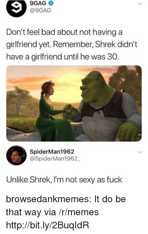 9gag, Bad, and Memes: 9GAG  @9GAG  Don't feel bad about not havinga  girlfriend yet. Remember, Shrek didn't  have a girlfriend until he was 30.  SpiderMan1962  @SpiderMan1962  Unlike Shrek, I'm not sexy as fuck browsedankmemes:  It do be that way via /r/memes http://bit.ly/2BuqIdR