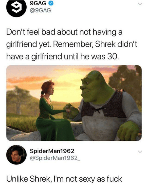 9gag, Bad, and Sexy: 9GAG  @9GAG  Don't feel bad about not havinga  girlfriend yet. Remember, Shrek didn't  have a girlfriend until he was 30.  SpiderMan1962  @SpiderMan1962  Unlike Shrek, I'm not sexy as fuck