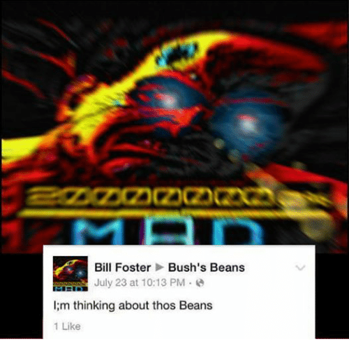 Dank Memes, Bills, and Fosters: Bill Foster  Bush's Beans  July 23 at 10:13 PM  l;m thinking about thos Beans  1 Like