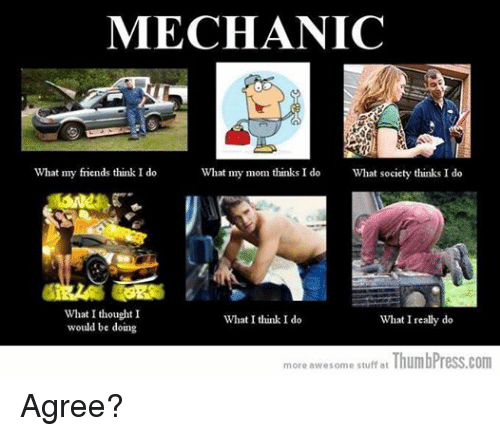 What I really do: MECHANIC  What my mom thinks I do What society thinks I do  What my friends think I do  What I thought I  What I think I do  What I really do  would be doing  more awesome stuff at  ThumbPress.com Agree?