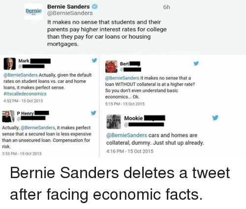 shut up already: Bernie Sanders  6h  Bernie  @BernieSanders  It makes no sense that students and their  parents pay higher interest rates for college  than they pay for car loans or housing  mortgages.  Mark  Bert  @Bernie Sanders Actually, given the default  @Bernie Sanders  t makes no sense that a  rates on student loans vs. car and home  loan WITHOUT collateral is at a higher rate?  loans, it makes perfect sense.  So you don't even understand basic  #itscalledeconomics  economics... Ok.  4:52 PM 15 Oct 2015  5:15 PM-15 oct 2015  P Hein  Mookie  Actually,  BernieSanders, it makes perfect  sense that a secured loan is less expensive  @BernieSanders cars and homes are  than an unsecured loan. Compensation for  collateral, dummy. Just shut up already.  risk.  4:16 PM 15 Oct 2015  3:53 PM 15 Oct 2015 Bernie Sanders deletes a tweet after facing economic facts.