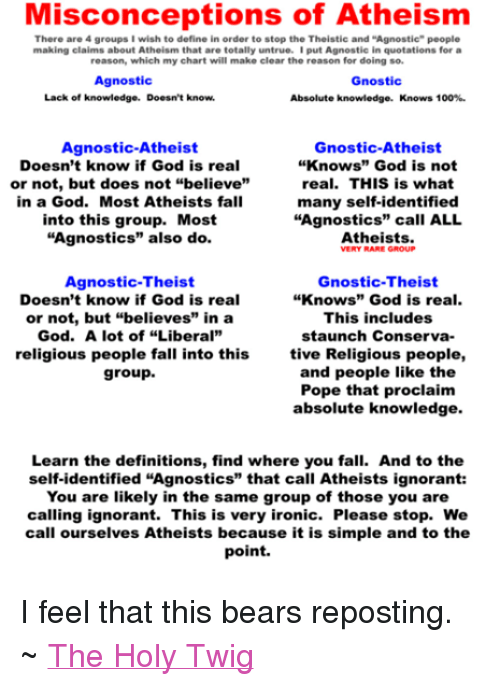 """Agnostic: Misconceptions of Atheism  There are 4 groups I wish to define in order to stop the Theistic and """"Agnostic people  making claims about Atheism that are totally untrue. I put Agnostic in quotations for a  reason, which my chart will make clear the reason for doing so.  Agnostic  Gnostic  Lack of knowledge. Doesn't know.  Absolute knowledge  Knows 100%.  Gnostic-Atheist  Agnostic-Atheist  Doesn't know if God is real  """"Knows"""" God is not  or not, but does not """"believe""""  real. THIS is what  many self-identified  in a God. Most Atheists fall  """"Agnostics"""" call ALL  into this group. Most  """"Agnostics"""" also do  Atheists.  Agnostic-Theist  Gnostic-Theist  Doesn't know if God is real  """"Knows"""" God is real.  This includes  or not, but """"believes"""" in a  God. A lot of """"Liberal""""  staunch Conserva-  religious people fall into this  tive Religious people,  and people like the  group.  Pope that proclaim  absolute knowledge.  Learn the definitions, find where you fall. And to the  self-identified """"Agnostics"""" that call Atheists ignorant:  You are likely in the same group of those you are  calling ignorant. This is very ironic. Please stop. We  call ourselves Atheists because it is simple and to the  point. I feel that this bears reposting. ~ The Holy Twig"""