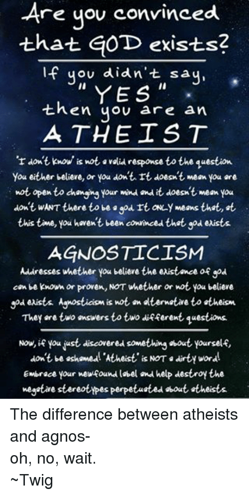 God, Dirty, and Agnostic: -Are you convinced  that GOD exists?  If you didn't say,  YES  then you are an  ATHEIST  don't know is not avalidresponse to the question  You either believe, or you don't rt doesn't mean you are  not open to changing your mind and it doesnt mean you  don't wANT there to be god rt ofLY means that t  this time, you haven't been convinced thet god exists.  AGNOSTIC ISM  Addresses whether you believe the existence of god  can be known or proven, NOT whether or not you believe  god exists Agnosticism is not an elternative to atheism  They are two answers to two different questions.  Now, if you just discovered something about yourself  don't be ashamed! Atheist is NOT a dirty word  Embrace your newfound label and help destroy the  negative stereotypes Perpetuated bout theists. The difference between atheists and agnos- oh, no, wait. ~Twig