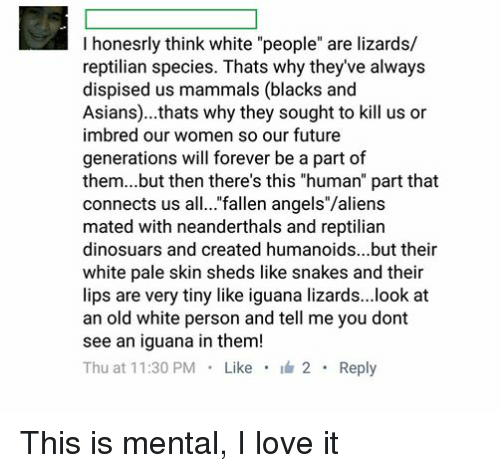 """Asian, Future, and Love: I honesrly think white """"people"""" are lizards/  reptilian species. Thats why they've always  dispised us mammals (blacks and  Asians)... thats why they sought to kill us or  imbred our women so our future  generations will forever be a part of  them...but then there's this """"human"""" part that  connects us all... fallen angels""""/aliens  mated with neanderthals and reptilian  dinosuars and created humanoids...but their  white pale skin sheds like snakes and their  lips are very tiny like iguana lizards...look at  an old white person and tell me you dont  see an iguana in them!  Thu at 11:30 PM  Like  2 Reply This is mental, I love it"""