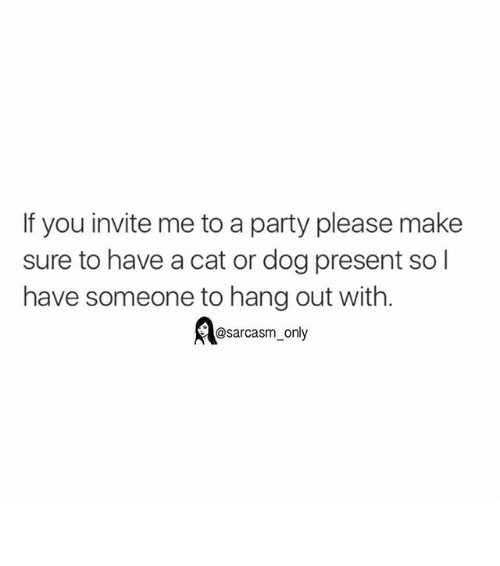 cat-or-dog: If you invite me to a party please make  sure to have a cat or dog present so l  have someone to hang out with  @sarcasm only ⠀