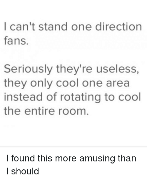 one direction fan: I can't stand one direction  fans.  Seriously they're useless,  they only cool one area  instead of rotating to cool  the entire room I found this more amusing than I should
