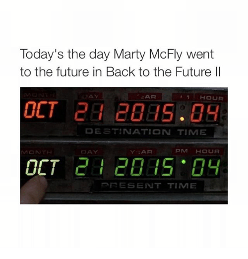 Marty McFly: Today's the day Marty McFly went  to the future in Back to the Future II  AR  1 HOUR  DESTINATION TIME  PIM HOUR  Y :AR  MON  OCT  RESENT TIME