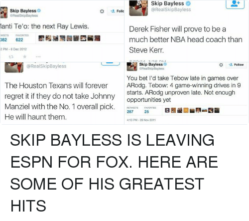 Houston Texans: Skip Bayless  aRealSkipBayless  Manti Te'o: the next Ray Lewis.  RETWEETS FAVORITES  3,082  622  8:52 PM 8 Dec 2012  Follow   Skip Bayless  @Real Skip Bayless  Derek Fisher will prove to be a  much better NBA head coach than  Steve Kerr  6/10/14, 1:36 PM   Skip Bayless  @Real SkipBayless  The Houston Texans will forever  regret it if they do not take Johnny  Manziel with the No. 1 overall pick.  He will haunt them  5/8/14, 7:00 PM   Skip Bayless  Follow  @RealSkipBayless  You bet I'd take Tebow late in games over  ARodg. Tebow: 4 game-winning drives in 9  starts. ARodg unproven late. Not enough  opportunities yet  RETWEETS FAVORITES  287  25  4:13 PM 28 Nov 2011 SKIP BAYLESS IS LEAVING ESPN FOR FOX. HERE ARE SOME OF HIS GREATEST HITS