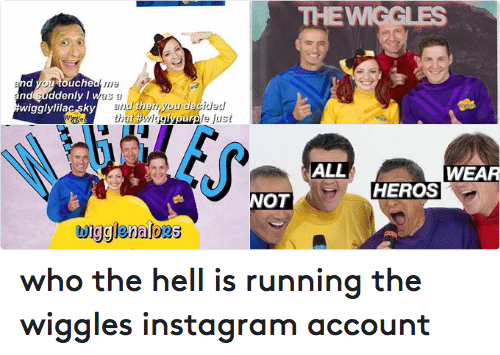 the wiggles: F 3:13 PM  65%  D'  ooooo Optus  PHOTO  1d  thewiggles  and you liked me  because J  you were  wiggl  red  nd you  ouche  nd uddenly I  as  and then, you d  wiggly lilac sky  that purp/s just  O O O  o 5,850 likes  O Q who the hell is running the wiggles instagram account