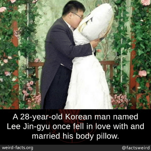 Facts, Love, and Memes: A 28-year-old Korean man named  Lee Jin-gyu once fell in love with and  married his body pillow  weird-facts.org  @factsweird