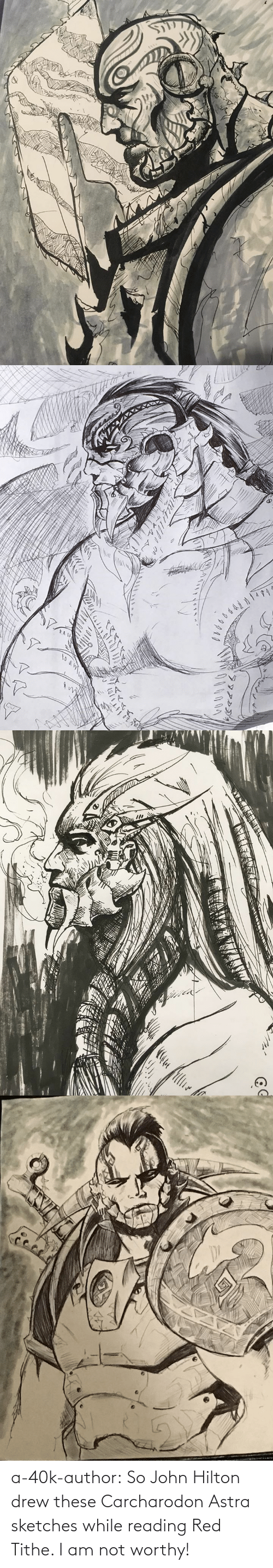 red: a-40k-author:  So John Hilton drew these Carcharodon Astra sketches while reading Red Tithe. I am not worthy!