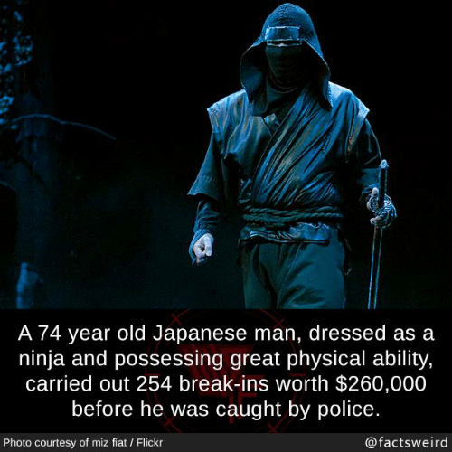 Memes, Police, and Break: A 74 year old Japanese man, dressed as a  ninja and possessing great physical ability,  carried out 254 break-ins worth $260,000  before he was caught by police.  Photo courtesy of miz fiat / Flickr  @factsweird