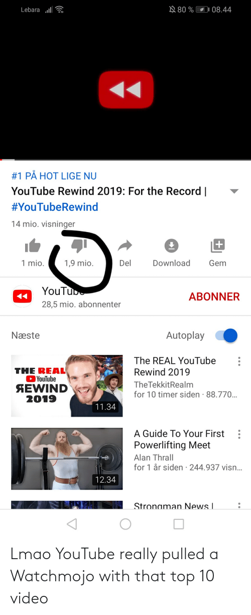 thrall: A 80 %  Lebara l  08.44  #1 PÅ HOT LIGE NU  YouTube Rewind 2019: For the Record    #YouTubeRewind  14 mio. visninger  1 mio.  Del  Download  Gem  1,9 mio.  YouTube  ABONNER  28,5 mio. abonnenter  Autoplay  Næste  The REAL YouTube  Rewind 2019  THE REAL  OYouTube  SEWIND  2019  The TekkitRealm  for 10 timer siden · 88.770.  11.34  A Guide To Your First  Powerlifting Meet  Alan Thrall  for 1 år siden · 244.937 visn..  12.34  Stronaman News I Lmao YouTube really pulled a Watchmojo with that top 10 video