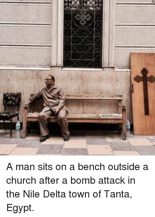 Ã……Ã…': A A man sits on a bench outside a church after a bomb attack in the Nile Delta town of Tanta, Egypt.