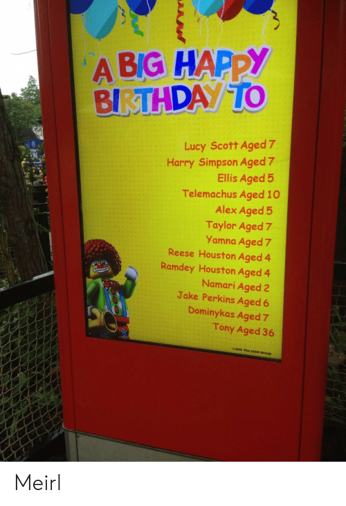 Lucy: A BIG HAPPY  BIRTHDAY TO  GOI  Lucy Scott Aged 7  Harry Simpson Aged 7  Ellis Aged 5  Telemachus Aged 10  Alex Aged 5  Taylor Aged 7  Yamna Aged 7  Reese Houston Aged 4  Ramdey Houston Aged 4  Namari Aged 2  Jake Perkins Aged 6  TINUE  Dominykas Aged 7  Tony Aged 36  e2015 The LEGO Group Meirl